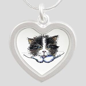Pocket Kitten Silver Heart Necklace