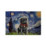Starry Night / Black Pug Rectangle Magnet