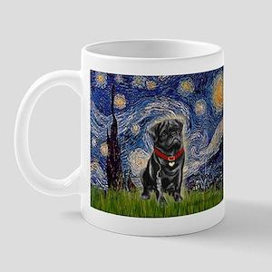Starry Night / Black Pug Mug