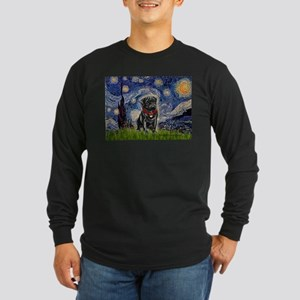 Starry Night / Black Pug Long Sleeve Dark T-Shirt