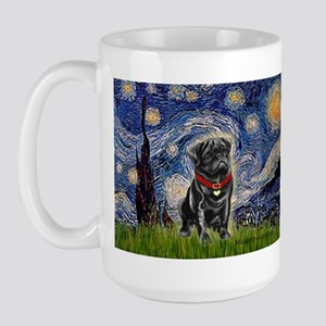 Starry Night / Black Pug Large Mug
