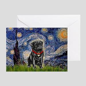 Starry Night / Black Pug Greeting Cards (Pk of 10)