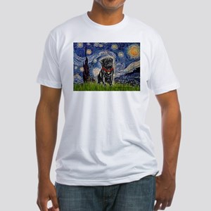 Starry Night / Black Pug Fitted T-Shirt