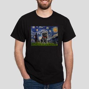 Starry Night / Black Pug Dark T-Shirt
