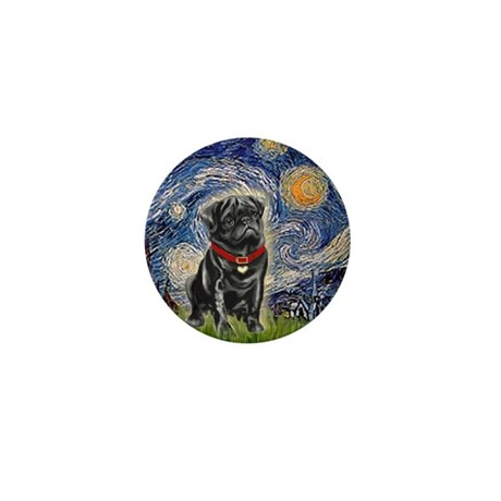 Starry Night / Black Pug Mini Button (10 pack)