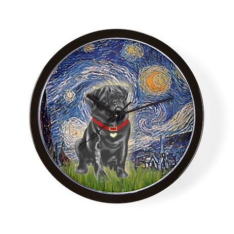 Starry Night / Black Pug Wall Clock