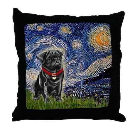 Starry Night / Black Pug Throw Pillow