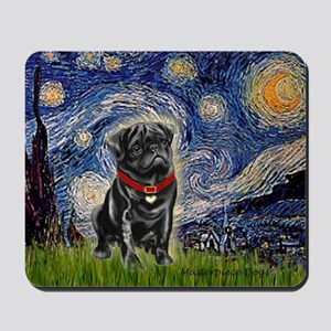 Starry Night / Black Pug Mousepad