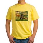 Lilies (#2) & Black Pug Yellow T-Shirt