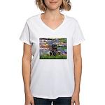 Lilies (#2) & Black Pug Women's V-Neck T-Shirt