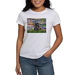Lilies (#2) & Black Pug Women's T-Shirt