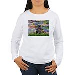 Lilies (#2) & Black Pug Women's Long Sleeve T-Shir