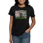 Lilies (#2) & Black Pug Women's Dark T-Shirt