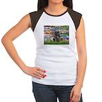 Lilies (#2) & Black Pug Women's Cap Sleeve T-Shirt