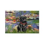Lilies (#2) & Black Pug Rectangle Magnet (10 pack)