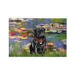 Lilies (#2) & Black Pug Rectangle Magnet