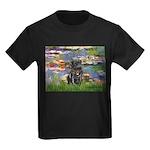 Lilies (#2) & Black Pug Kids Dark T-Shirt