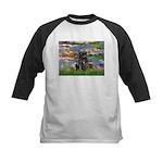 Lilies (#2) & Black Pug Kids Baseball Jersey