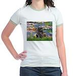 Lilies (#2) & Black Pug Jr. Ringer T-Shirt