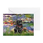 Lilies (#2) & Black Pug Greeting Cards (Pk of 10)