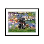 Lilies (#2) & Black Pug Framed Panel Print