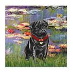 Lilies (#2) & Black Pug Tile Coaster