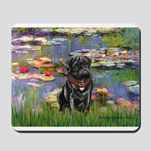 Lilies (#2) & Black Pug Mousepad