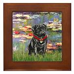 Lilies (#2) & Black Pug Framed Tile