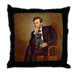 Lincoln-Black Pug Throw Pillow