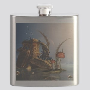 Wonderful seascape with mushroom house Flask
