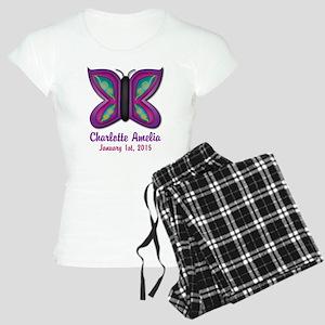 CUSTOM Butterfly Baby Name and Birthdate Pajamas