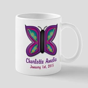 CUSTOM Butterfly Baby Name and Birthdate Mugs