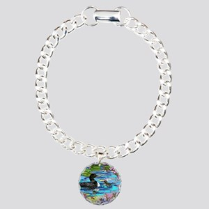 Loons and Lilies Charm Bracelet, One Charm