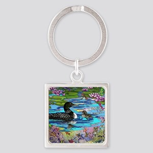 Loons and Lilies Square Keychain
