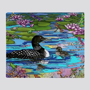 Loons and Lilies Throw Blanket