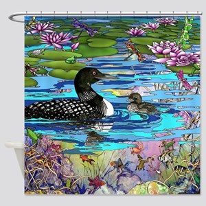 Loons and Lilies Shower Curtain