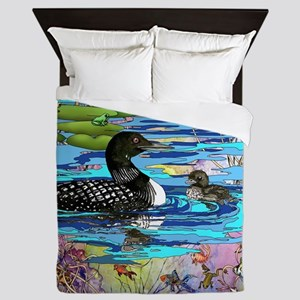 Loons and Lilies Queen Duvet