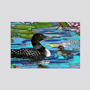 Loons and Lilies Rectangle Magnet