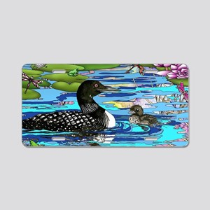 Loons and Lilies Aluminum License Plate
