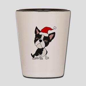 Cute Boston Terrier Christmas Art Shot Glass