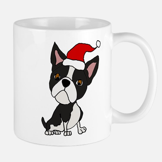 Cute Boston Terrier Christmas Art Mugs
