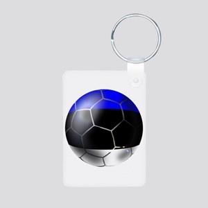 Estonia Soccer Ball Aluminum Photo Keychain