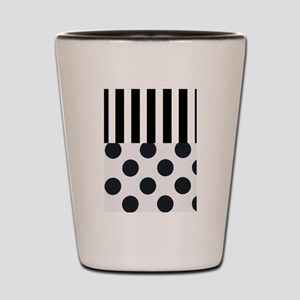 Black and White Stripes and Dots Shot Glass
