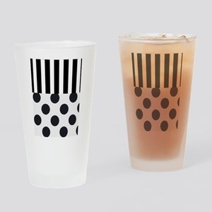 Black and White Stripes and Dots Drinking Glass