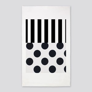 Black and White Stripes and Dots Area Rug