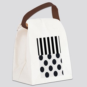 Black and White Stripes and Dots Canvas Lunch Bag