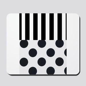 Black and White Stripes and Dots Mousepad
