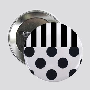 """Black and White Stripes and Dots 2.25"""" Button"""