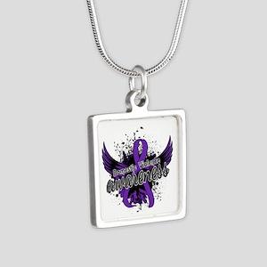 Domestic Violence Awarenes Silver Square Necklace