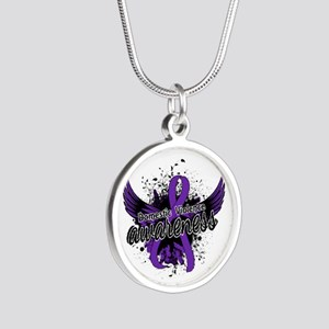 Domestic Violence Awareness Silver Round Necklace